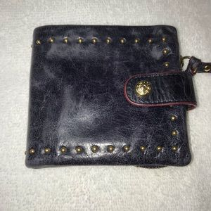 MZ Wallace Bi-Fold Studded Leather wallet in Navy